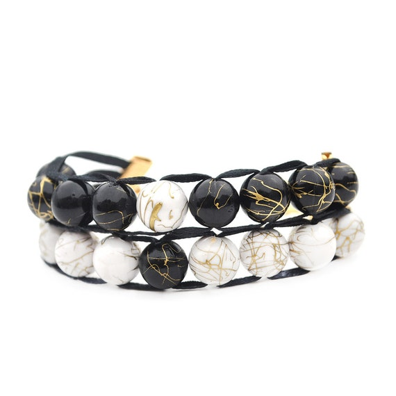 Black and White with Gold Clasp - Ablet Knitting Abacus - Row Counting Bracelet