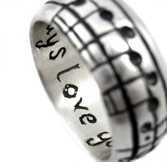 The Original Music Notes Ring, Sterling Music Note Wedding Ring, Personalized Sheet Music, Custom Music Note, Music Jewelry, boyfriend Gift