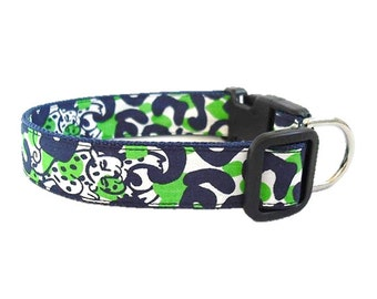 Dog Collar Made from Lilly Pulitzer Navy Thrill of the Chaise Fabric Size: Your Choice