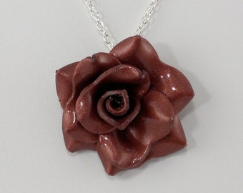 Bronze Rose Pendant - Simple Rose Necklace - Bronze Rose Necklace  - Handmade Wedding Jewelry - Polymer Clay Rose Pendant - #239