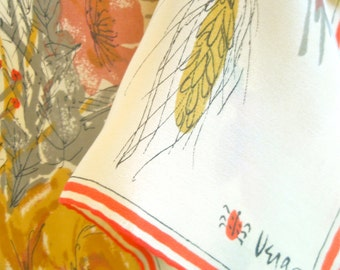 Harvest Wheat and Roses - a rare, vintage 1950's Vera Neumann Lucky Ladybug pure silk scarf - 31 inches