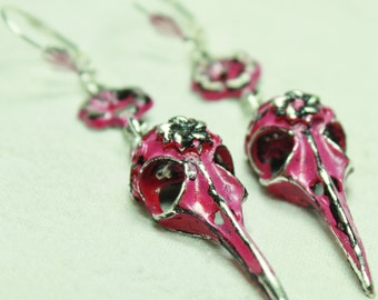 Bird Skull and Flowers Earrings in Pink and Black