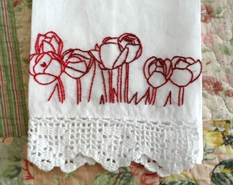 Tulip Flowers Redwork Embroidery Linen Tea Towel Kit