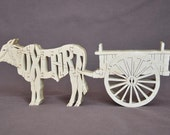 Ox with Cart Oxen Pulling  Puzzle Wooden Toy Hand Cut with Scroll Saw