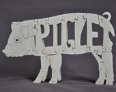 Baby Pig Piglet  Swine Hogs Wooden Animal Puzzle Toy Hand Cut  with Scroll Saw
