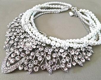 Bridal Rhinestone Necklace, Bridal Statement Necklace, Bridal Jewelry, White Pearls, Bib Wedding Necklace,Pearl Bridal Necklace, Lara