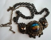 Gothic, Neo-Victorian Flair, Gorgeous Statement Necklace, Ornate Metal Works, Set Large Glass Unique Jewel and Swarovski Rivoli, OOAK, USA