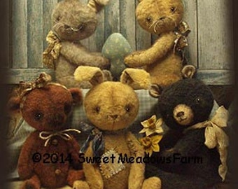 Bears N Hares Primitive Rabbit and Bear Doll Pattern