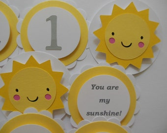 You Are My Sunshine 1st Birthday Cupcake Toppers - Yellow, Gray and White - Gender Neutral - Child Party Decorations - Set of 12
