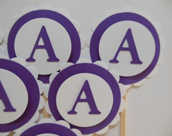 Letter A Cupcake Toppers - Purple and White - Birthday Party Decorations - Set of 6