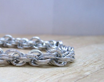 Double Spiral Aluminum Chainmail Bracelet, Chainmaille Jewelry, Women's Accessory