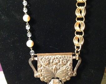 Vintage statement rhinestone silver & gold necklace
