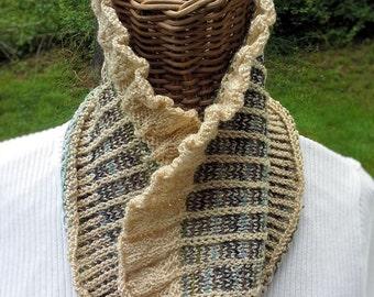 Cowl, handknit of washable wool yarn using my own design. OOAK