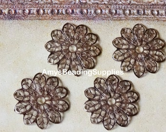 Vintaj Natural Brass Filigree Flower 20.5mm, 4 Pieces (FS029)