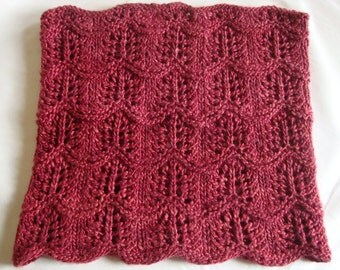 Knitting PATTERN: Crest of the Wave Cowl, Neck Ring, Lace-- Instant Download