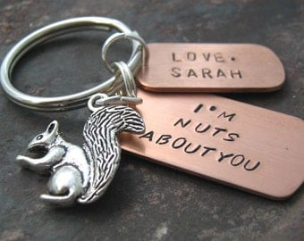 Personalized I'm Nuts About You Keychain with silver squirrel charm and silver split ring, valentines day gift, great for men and women
