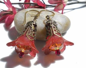 Autumn Russet Flower Earrings w Copper Swarovski Crystals
