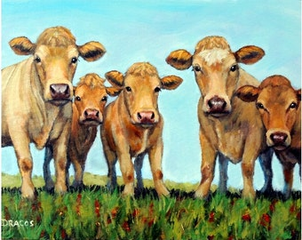 Cow Farm Animal Art Print of Original Painting, by Dottie Dracos, Five Curious Cows