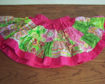 Toddlers patchwork twirl skirt size 2 3 4 Summer skirt hot pink lime green cotton prints Free Shipping