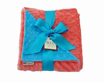 Coral and Turquoise Minky Dot Baby Girl Blanket 353