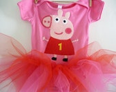PEPPA PIG Onesie Tutu- Peppa Birthday Tutu - Infant Tutu - First Birthday Tutu - size 3/6 months,  6/12 months, 12/18 months or 18/24 months
