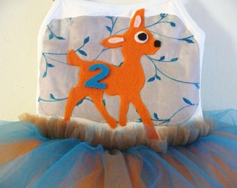DEER TUTU - Bambi Tutu- Bambi  Birthday Tutu - Personalized Tutu -  Sizes 18/24 months, 2/4 years, 4/6 years, 6/8 years and up