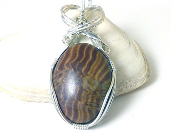 Brown Zebra Jasper and Sterling Silver Pendant