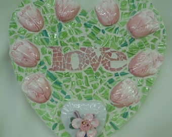 large broken china stained glass pink and green tulip mosaic spring love