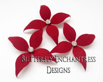 Bridal Hair Piece, Wedding Hair Accessories, Bridesmaid Gift, Flower Head Piece - 3 Red Wynn Flower Hair Pins