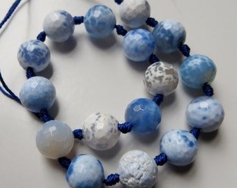 10mm Faceted Blue Agate Beads - Half Strand