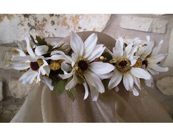 white daisy floral head wreath bridal flower crown boho rustic Victorian wedding flowers renaissance costume accessory
