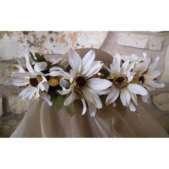 floral head wreath wedding flowers bridal crown renaissance faerie costume bride