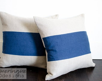 Blue and Beige Linen Pillow Cover Size 18x18 with Invisible Zipper