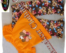 Girl Fall Thanksgiving Turkey Baby Outfit Set Custom Boutique Clothing Toddler Infant Pant Size 3 6 9 12 18 24 month size 2T 3T 4T 5T 6 7 8