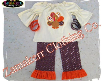 Girl Thanksgiving Outfit Turkey Fall Pumpkin Pant Set Custom Boutique Clothing Baby Top 3 6 9 12 18 24 month size 2 2T 3 3T 4 4t 5 5T 6 7 8