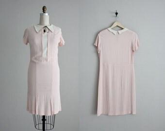 1930's dress / pink crepe dress / vintage 30s dress
