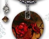 Red Nouveau Poppy Necklace - Reversible Shimmerz Glass Art Necklace - Voyageur Collecton - Asian Nouveau Poppy Glow Necklace