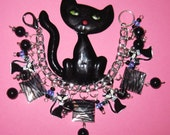 Black Cat Jewelry Charm Bracelet Vintage Style Retro Rockabilly Style Sassy Kitty Cat OOAK Eclectic Kitsch Statement Piece