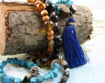 Long Beaded Wrap Bracelet/Necklace with Tassel and Gemstones from the Sangha Collection