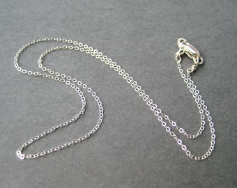 16 Inch Sterling Silver Chain Necklace, Fine Gauge .925 Silver, Delicate Flat Cable Chain