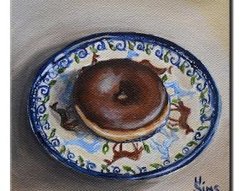 Donut art print , Polish pottery kitchen wall decor, food art, wall decor, chocolate doughnut print Heather Sims mat option