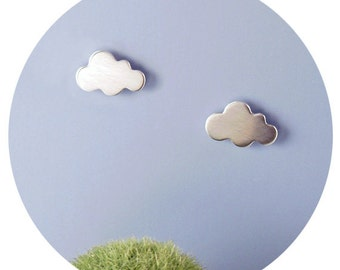 Cloud Studs | Tiny Cumulus Cloud Stud Earrings in Solid Serling Silver or .9ct Yellow Gold Handcrafted by Ginny Reynders