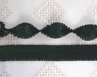 """Pleated Rayon Moire Ribbon Forest Green Color Ribbon Flowers Doll Costuming 1 yd 2"""" wide"""