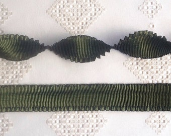 """Pleated Rayon Moire Ribbon Amber Moss Green Ribbon Work Ribbon Flowers Doll Costuming 1 meter x 2"""" wide"""