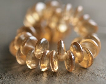 Champagne Luster Czech Glass Bead 6mm Lentil : 50 pc 6mm Transparent Champagne