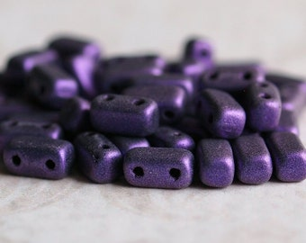 Metallic Suede Purple CzechMates Czech Glass Bead 6mm Two Hole Brick : 50 pc