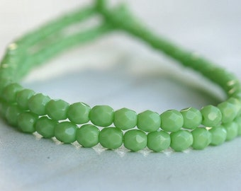 Honeydew Czech Glass Bead 4mm Faceted Round : 50 pc Strand