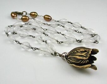 Tulip Pendant with Natural Crystal and Pearl Rosary Chain