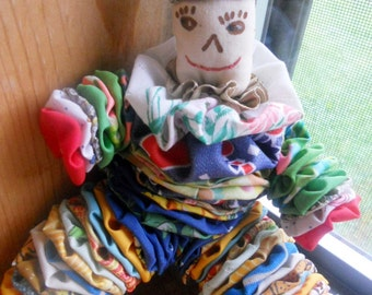Vintage YoYo Doll YoYo Clown Doll Nursery Primitive Country Decor Shabby Chic Country Toy Rainbow 10""