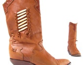 vintage ZODIAC tall tan pull up made in Brazil campus western womans cowboy cowgirl boots size us 7M